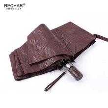 تقليد جلد التمساح مظلة المطر النساء 3 للطي يندبروف التلقائي بالكامل الأعمال مظلة كبيرة مظلة الرجال عالية الجودة