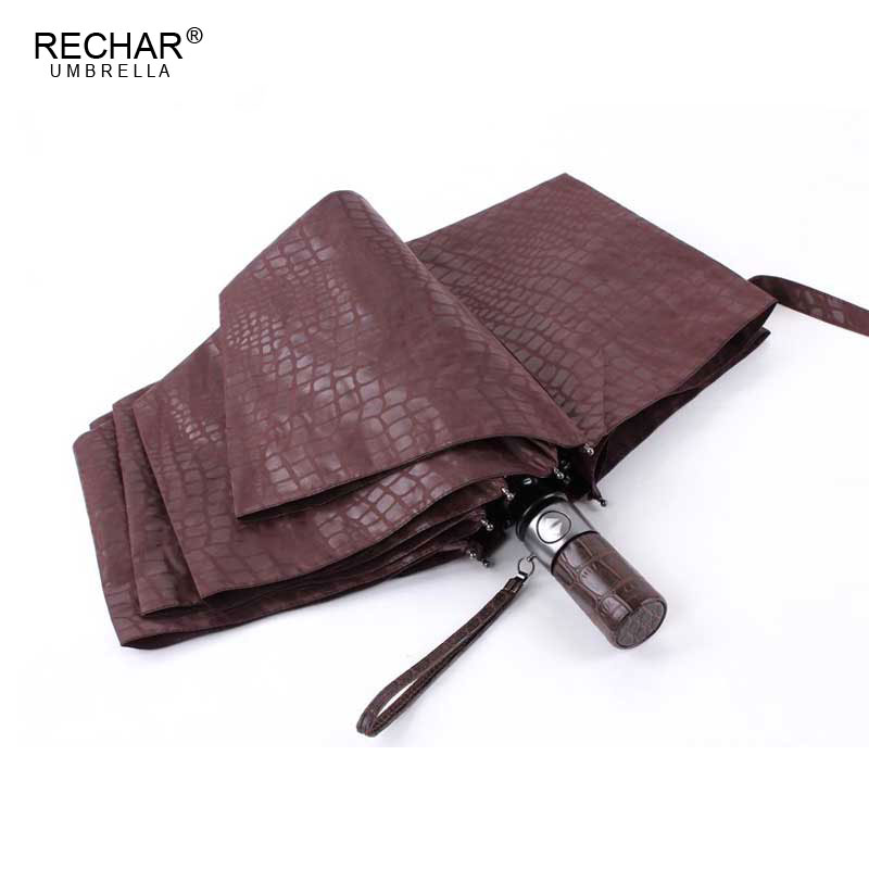 Imitation Crocodile Skin Umbrella Rain Women 3Folding Windproof Fully Automatic Business Big Umbrella High Quality Men Umbrella
