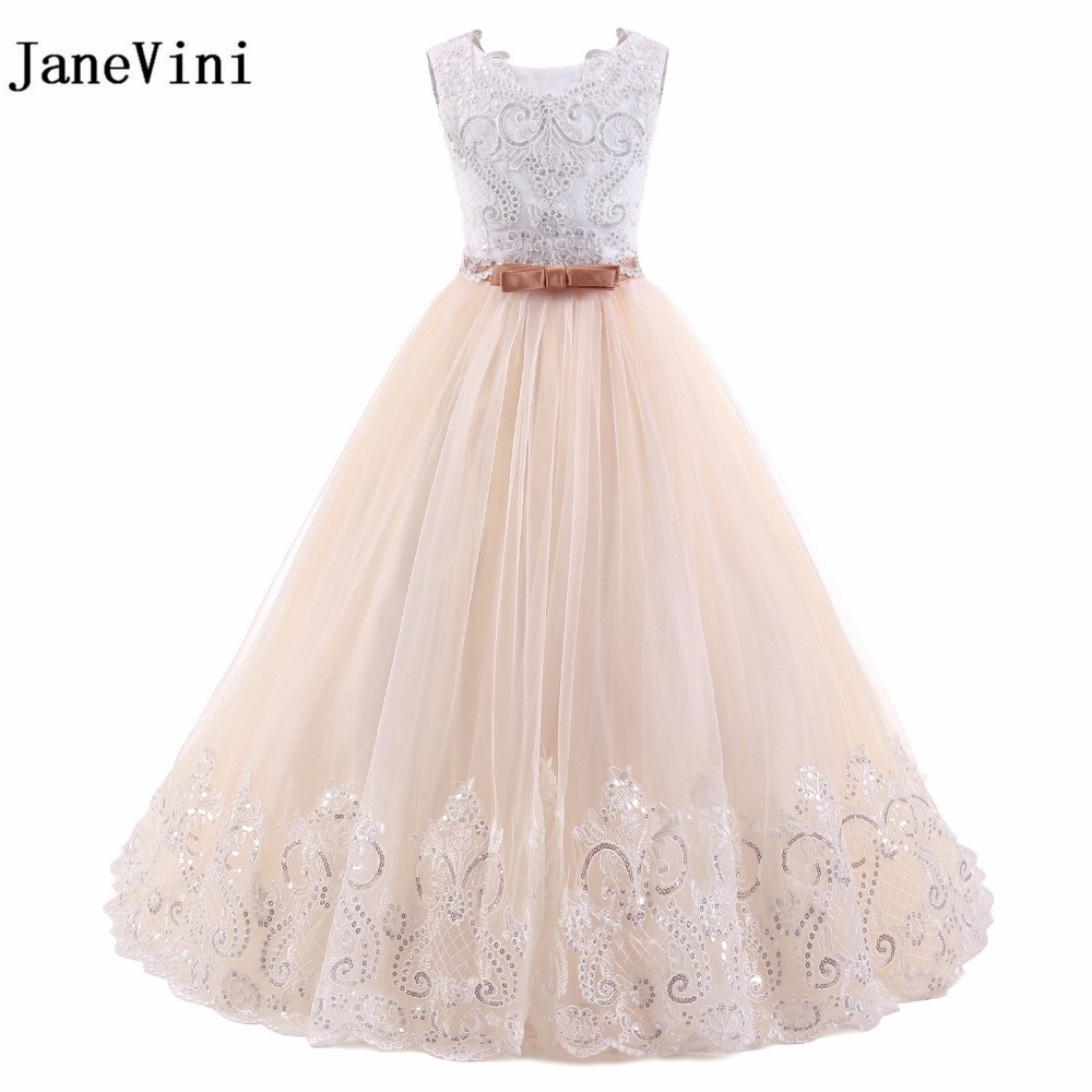 JaneVini Tulle Pink   Flower     Girl     Dresses   For Weddings 2018 Lace Appliques Sequined Communion   Dresses   For Kids Formal Prom Gowns