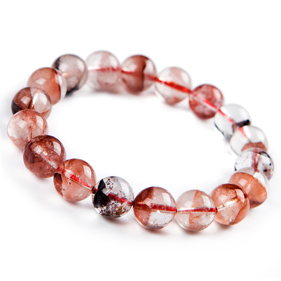Genuine Natural Red Phantom Quartz Gems Stone Women Lady Crystal Stretch Bracelet 12mm 8mm genuine natural purple sugilite crystal beads women lady fashion gems stone jewelry stretch bracelet