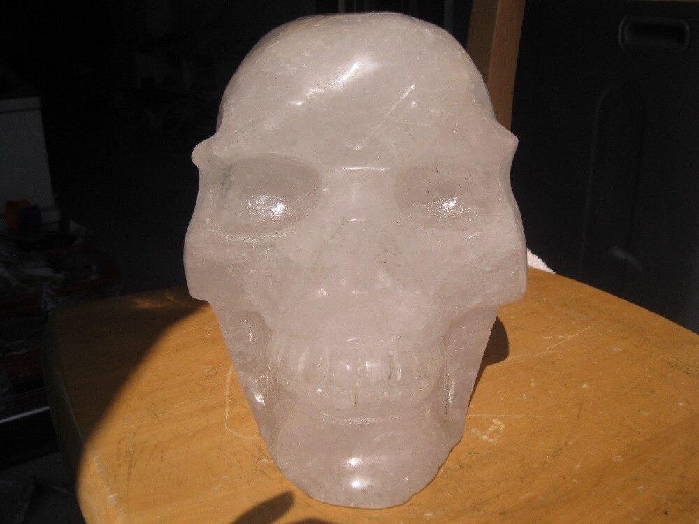 00879 огромные естественные белые прозрачные кварцевые Хрустальные черепа резные из Китая title=