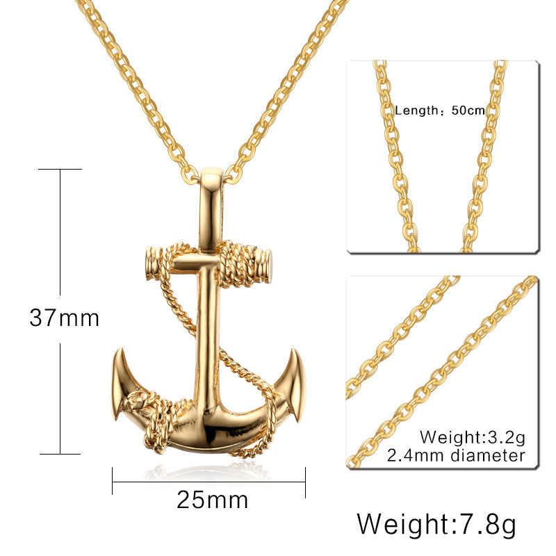 HNSP klasyczne kotwica naszyjniki wisiorek dla mężczyzn biżuteria czarne złoto srebro 3 kolor 60MM łańcuch