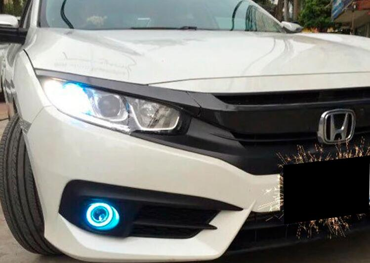 eOsuns Innovative COB angel eye led daytime running light DRL + halogen Fog Light + Projector Lens for Honda Civic 10th 2016 ownsun innovative super cob fog light angel eye bumper cover for skoda fabia scout