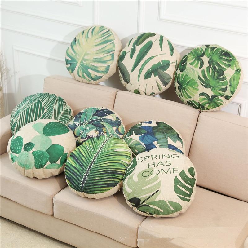 45cm Round Tropical Plant Circular Printing Home Decor Sofa Car Seat Decorative Cushion Cover Pillow Case Capa Almofada