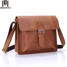 MISFITS new crazy horse genuine leather men messenger bags casual shoulder crossbody bag top brand small flap man bag handbags