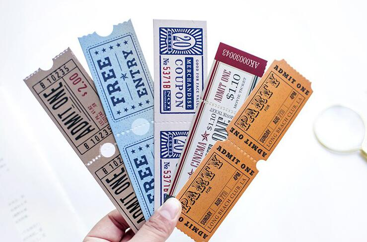 Vintage Cinema Tickets Bookmarks Novelty Tickets Book Page Marker For Reading Set Of 30