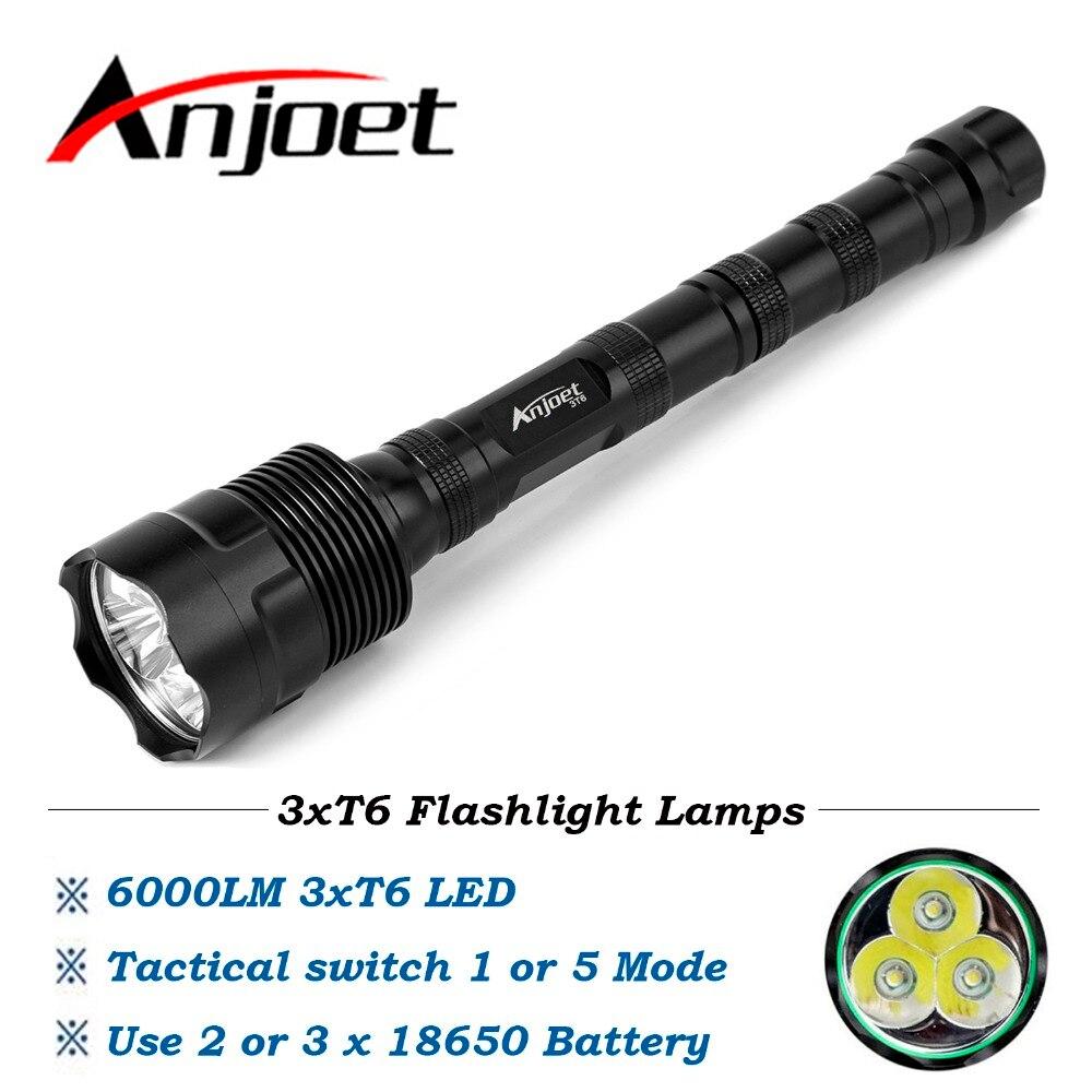 Anjoet 6000LM Tactical Flashlight 3T6 LED Power 1-Mode or 5-Mode Lanterna Aluminum Waterproof Torch Light Lamp 18650 Camping