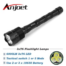 zhishunjia b t40r led 720lm 5 mode zooming flashlight red 1 x 18650 Anjoet 6000LM Tactical Flashlight 3T6 LED Power 1-Mode or 5-Mode Lanterna Aluminum Waterproof Torch Light Lamp 18650 Camping