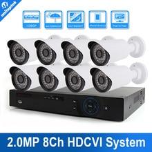 HD 1080 P 2MP IR 8CH CVI CVR DVR HDCVI Bala Al Aire Libre Kit de Sistema de cámaras de Vigilancia de Seguridad CCTV de 8 Canales Con 20 M Cable