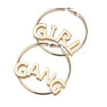 Hot Statement Jewelry Girl Gang Letter Big Hoop Earrings For Women Simple Gold Punk Large Circle European Wholesale