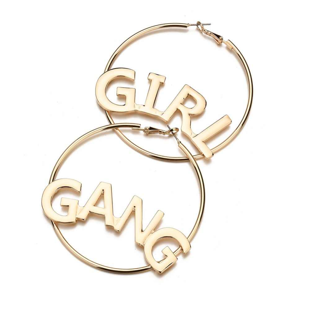 Hot Statement Jewelry Girl Gang Letter Big Hoop Earrings For Women Simple Gold Punk Large Circle Earrings European Wholesale