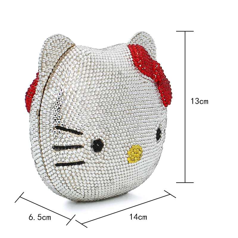 Hello Kitty Crystal Diamond Women Evening Cocktail Party Handbags Clutch  Bag Hard Case Metal Clutches Shoulder Chain Purses-in Evening Bags from  Luggage ... 94c6e9c5fff61