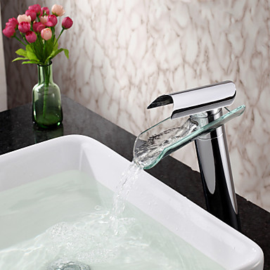 Glass Water Waterfall Bathroom Sink Basin Faucet Tap ,Torneira Para De Banheiro Modocomando netcat