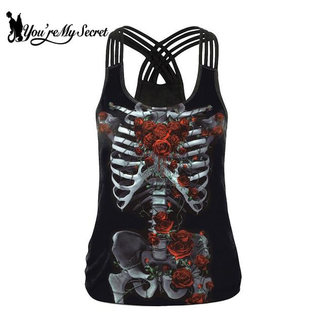 [Você é Meu Segredo] Clássico Skeleton Rose Red Impressão Tanque Das Mulheres Tops Moda Sexy Estilingue Top Gothic Streetware topos colete de Verão