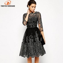 Elegant Women Sliver Embroidery Lace Ball Gown Dress 2018 Vintage Style Sexy Sheer Mesh 3/4 Sleeve Night Out Party Dresses(China)