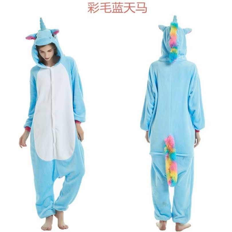 Onesie Оптовая продажа животных Kigurumi пижамы стежка Единорог Свободный  комбинезон унисекс для женщин с капюшоном для 116f592a240cc
