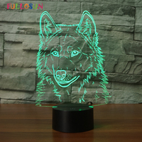 3D Wolf Night Lamp USB LED Lighting Colorful Animal 3D Desk Table Lamp For Home Decoration