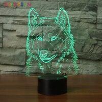 3D Wilk Noc Lampy Oświetlenie LED USB Kolorowe Zwierząt 3D Biurko Lampa Stołowa do Dekoracji Wnętrz