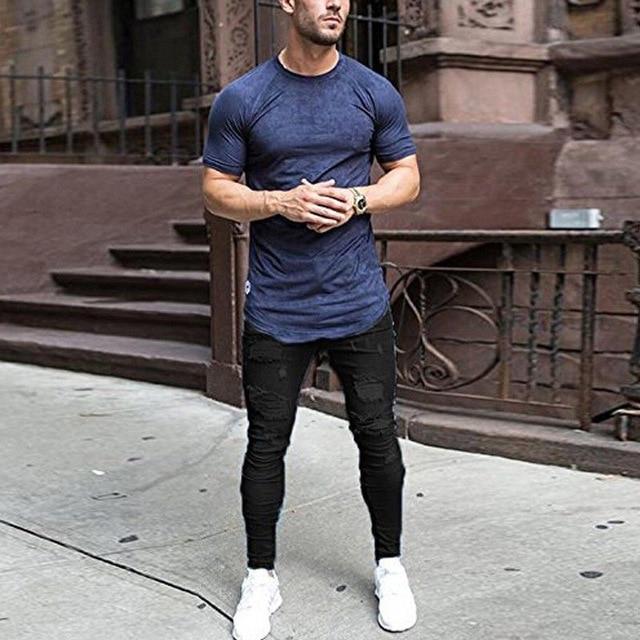 7ec4e79d361 New Mens Black Ripped Jeans 2018 Casual Hi Street Skinny Jeans Homme Hip  Hop Zipper Pencil