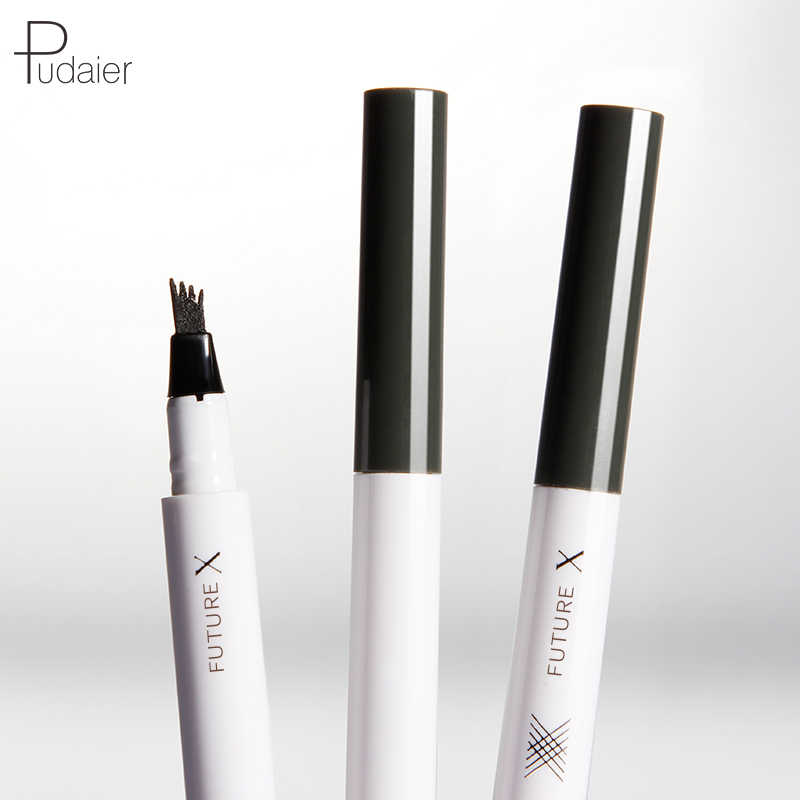 PUDAIER Microblading Eyebrow Tattoo ปากกาเคล็ดลับส้อม Eyebrow หมึกดินสอ 4 หัว Liquid Eye Makeup สีบลอนด์สีน้ำตาล