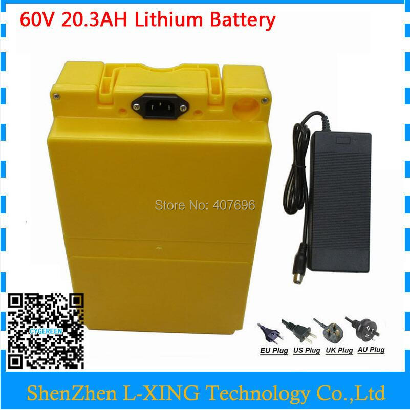 2500W 60volt Lithium battery pack 60V 20AH with plastic case Electric bike battery 60V20AH use Panasonic 18650 Cell 2A Charger 2017 liitokala 2pcs new protected for panasonic 18650 3400mah battery ncr18650b with original new pcb 3 7v