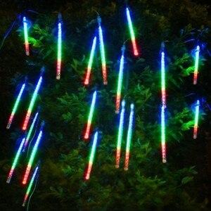 "Image 2 - 50 ס""מ ססגוניות עמיד למים מטאור מקלחת גשם צינורות Led אור מנורת 240 v Plug חג מולד אור חתונת גן קישוט חג המולד"