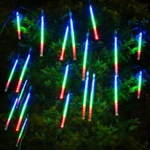 Image 2 - 50cm Multicolor waterproof Meteor Shower Rain Tubes Led Light Lamp 240V Plug Christmas Light Wedding Garden Decoration Xmas