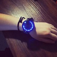 Fashion Leather Band Touch Screen LED Watches For Women Mens With Tree Shaped Dial Blue Light