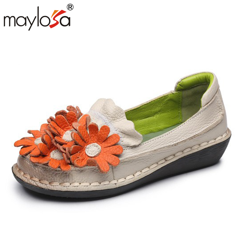 MAYLOSA spring Autumn Genuine Leather Women Shoes Pyrographic Set Foot Flat Shallow Mouth Increased Casual Retro Shoes xiniu flats mother shoes women retro flat heel shallow mouth solid color casual shoes flat shoes genuine leather shoes fashion