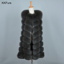JKKFURS 2019 New Arrivals Womens Real Fox Fur Vests Women Fashion Gilets High Quality Thick Warm Winter Coat S7251