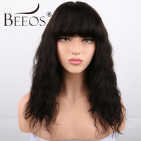 BEEOS 250% Density Short Glueless Lace Front Human Hair Wigs With Bangs Baby Hair Non Remy Brazilian Lace Wigs For Black Women