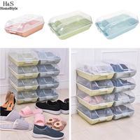 Etc Organizer Transparante Stapelbaar Doos Thuis Groen Solid Blauw Roze Huishoudelijke Plastic Schoen Schoen Hotel