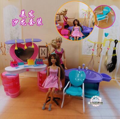 beauty salon barbie hairdresser Fashion Furniture Hair Salon Play Set Dressing Table Hair Dryer Heating Element Shampoo Chair