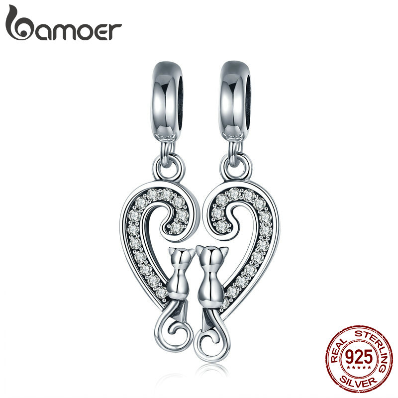 BAMOER Romantic 925 Sterling Silver Cat Love in Sweet Heart Dangle Charm fit Charm Bracelet Necklace Jewelry Couple Gift SCC641