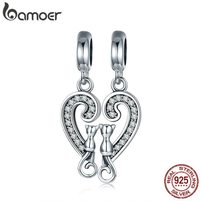 5815ec326 BAMOER Romantic 925 Sterling Silver Cat Love in Sweet Heart Dangle Charm  fit Charm Bracelet Necklace Jewelry Couple Gift SCC641