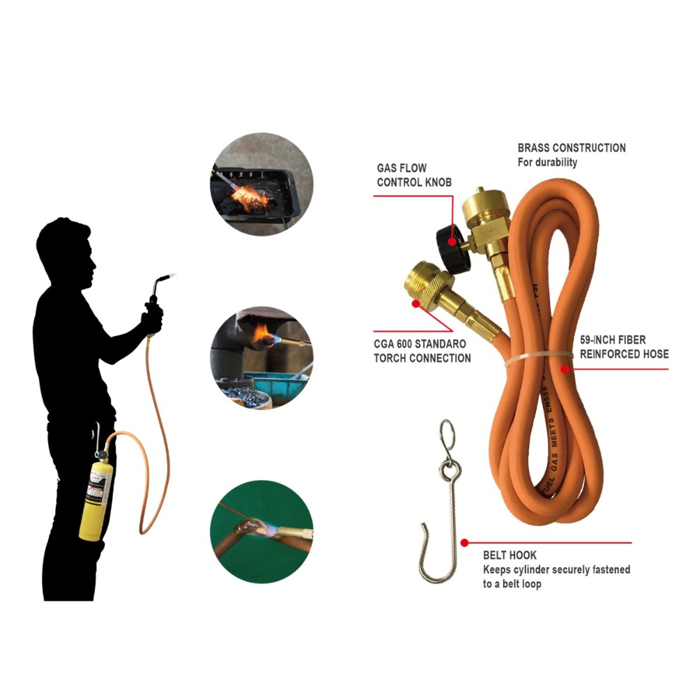 MAPP Torch Extension Hose Kit 1.5m (5ft) Hose And Belt Hook For Gas Braze Welding Torch