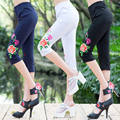 New Ethnic style Embroidery Leggings Women Plus size Knee-Length pants QS530