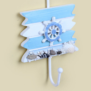 New 1pcs Anchor Shape Wall Hook Wood Nautical Conch Home Hanging Crafts Art Wall Hanger Hooks Home Decorations Eco-Friendly
