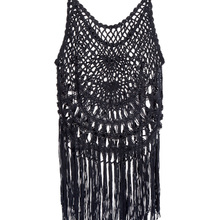Women's Clothing Provided 2019 Hot Women Kaftan Crochet Lace Camis Tops Long Black Tassels Hollow Sleeveless Tassel Long Camis Tops