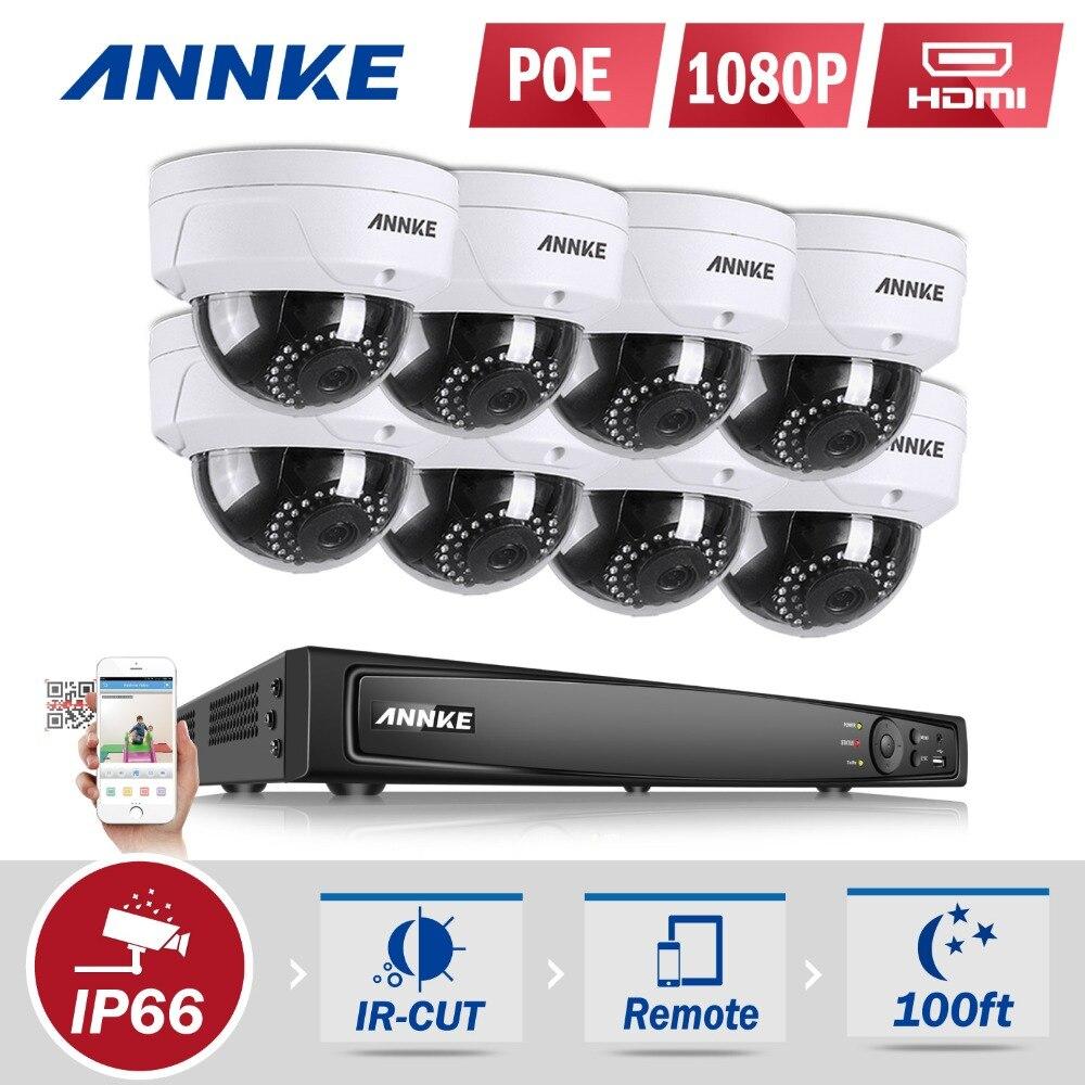 ANNKE 16CH 2.0MP 1080P 8pcs PoE Security Cameras NVR Network CCTV System Dome Camera IR WDR CCTV Security Camera System 1TB HDD цены