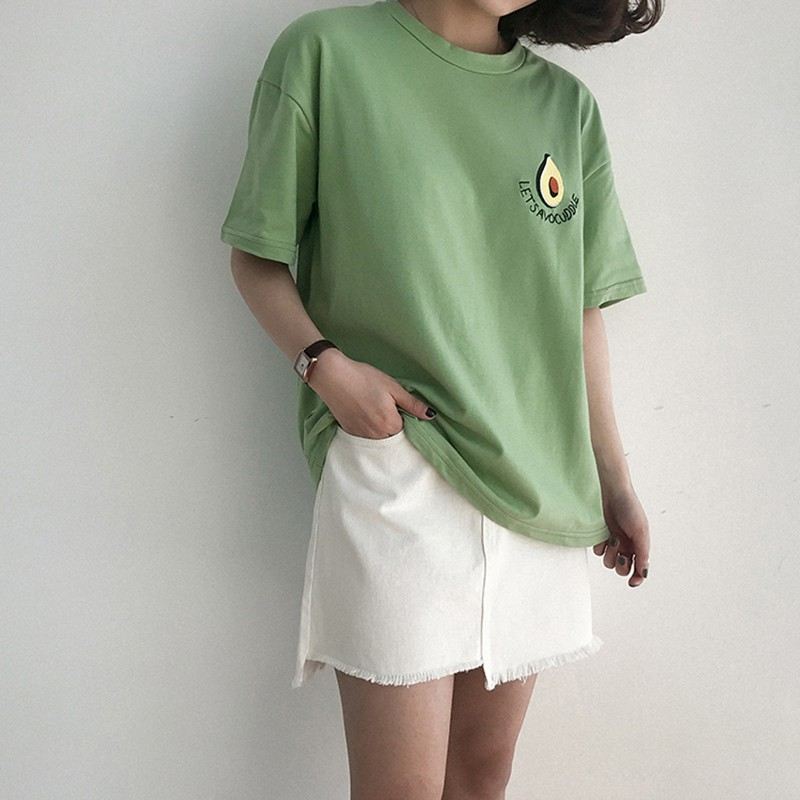 2018 Summer Ladies Avocado Print Simple Embroidered O-Neck Short Sleeve T-Shirt Girls Cute Fashion Design Tops Y4