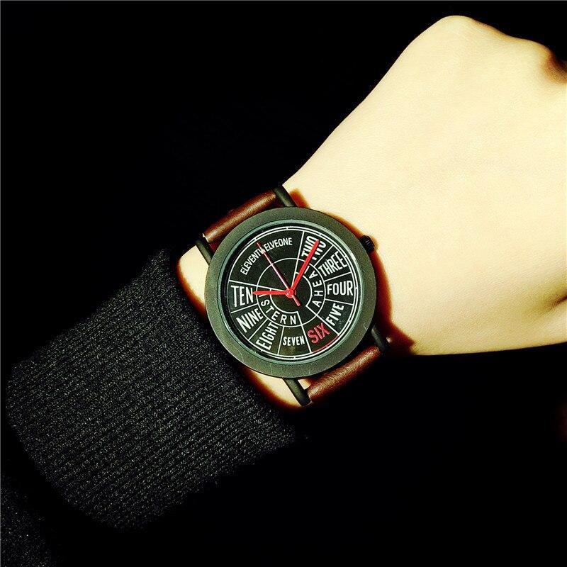 Fashion Vintage English Compass Stylish Leather Quartz ...