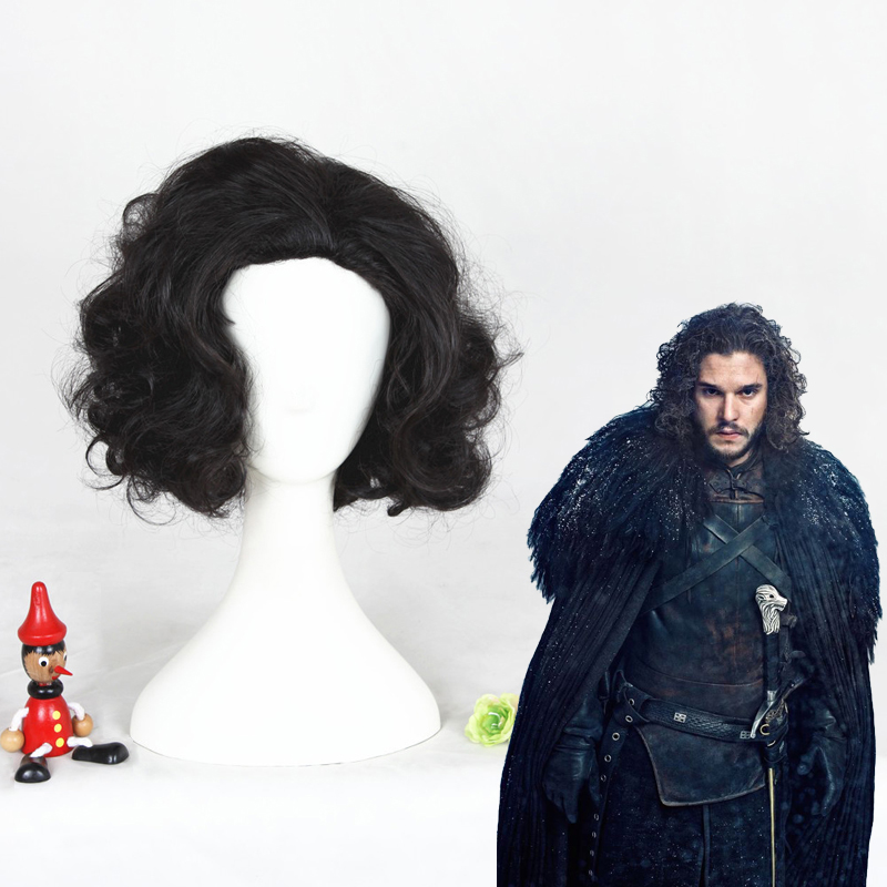 Game of Thrones Jon Snow Black Short Curly Wig Synthetic Cosplay Anime Wig Black