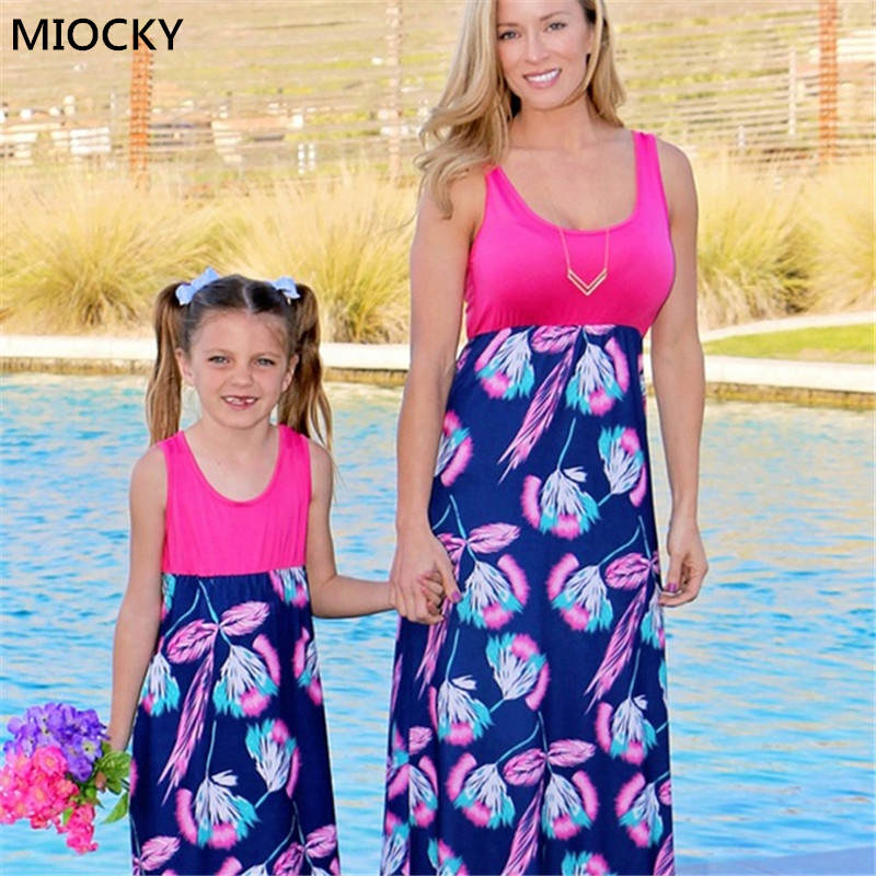 Mommy Daughter Gown 2019 Matching Outfits Girls Lady Child Garments Celebration Mama Mom and Me Clothes Household Look Clothes E055 Matching Household Outfits, Low-cost Matching Household Outfits, Mommy Daughter...