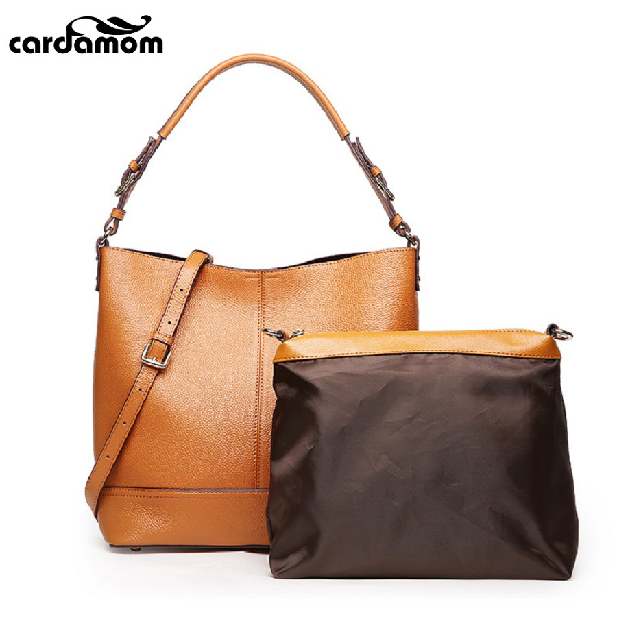 Cardamom Genuine Leather Women Bags Large Capacity Ladies Handbags High Quality Natural Fashion Leather Shoulder Bag cardamom new woman handbags lychee grain embroider large capacity messenger bag pu leather ladies fashion shoulder bag