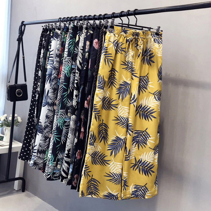 Chiffon   Wide     Leg     Pants   Women Loose Print Elastic Waist   Pants   Trousers Fashion Ankle-Length Ice Silk Floral Female   Pants   LJ2359