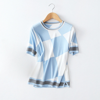 Blue White Diamond Plaid Knitted T-Shirt Women Fashion Three Quarter Sleeve Tees Tops 2017