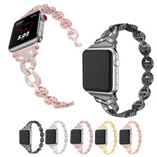 Para Apple Smart Watch Series 4 3 2 1 Acero inoxidable mujeres Vo diamante I reloj bandas Apple Watch reloj de Metal la correa de 38 40 42 44mm(China)