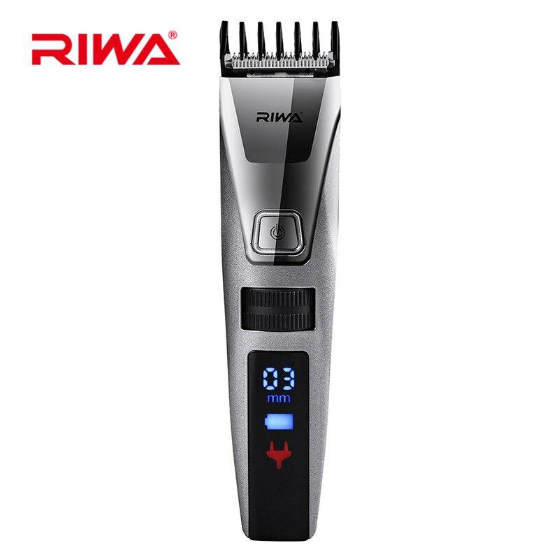 Riwa Wiederaufladbare Elektrische IPX5 Wasserdichte LCD Display Haar Trimmer Clipper Einstellbare Haarschnitt Kit Koteletten Trimmer für Männer 38