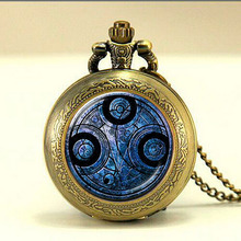 Steampunk Doctor dr Who time lord Gallifreyan Necklace 1pcs/lot bronze silver pocket watch Pendant jewelry gift mens chain women